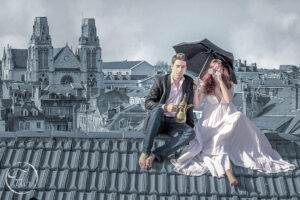 Séance photo couple sur les toits du centre ville de Pau par le photographe de mode et de portrait Fabien Ferrère